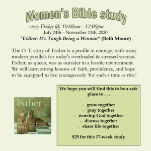 "Women's [Zoom] Bible study - ""Esther: It's Tough Being a Woman"""